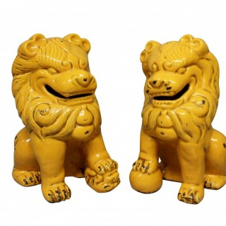 A PAIR OF LARGE GLAZED DOGS OF FOO