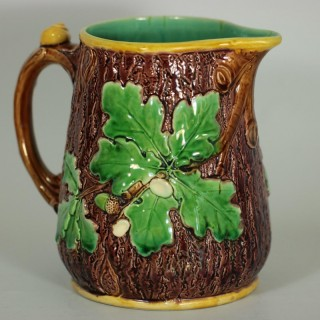 Minton Majolica Oak Jug/Pitcher with Snail Handle