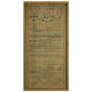 Antique Band Sampler, 1741, by Elizabeth Buckingam