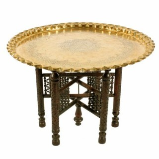 North African Brass Tray Table