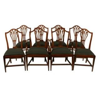 Set of Eight Hepplewhite Chairs