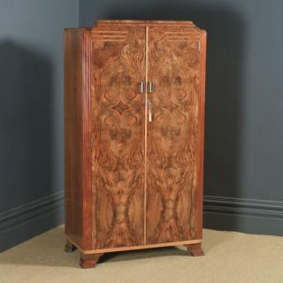 Antique English Art Deco Figured Walnut Inlaid Two Door Wardrobe (Circa 1930)