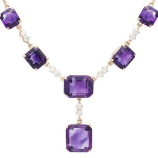 29.20 ct Amethyst and 1.00ct Diamond, 18ct and 9ct Yellow Gold Necklace - Antique Circa 1920