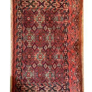 Small Handmade Persian Turkmen Antique Wool Rug- 44x65cm