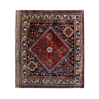 Hand Made Antique Persian Qashqai Rug- 53x60cm