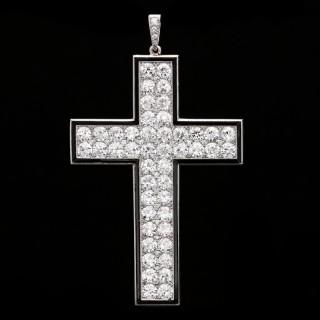 Important Art Deco Antique Diamond & Black Onyx Cross by Van Cleef & Arpels 1921