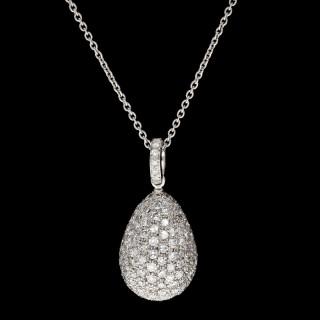 Contemporary Pavé set Diamond Egg Pendant by Hancocks