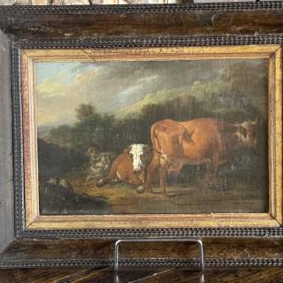 18th Century oil on canvas laid on oak