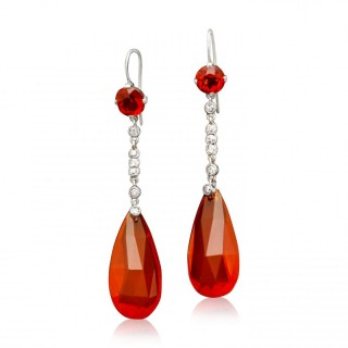 Pair of Antique Fire Opal and Diamond Drop Earrings circa 1910