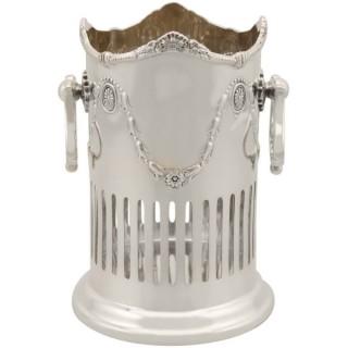 Sterling Silver Bottle Coaster - Antique Edwardian (1907)