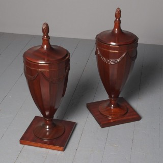 Antique Pair of George III Style Mahogany Urns