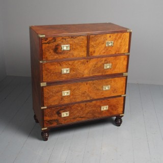 Antique Victorian Burr Walnut Military Chest of Drawers