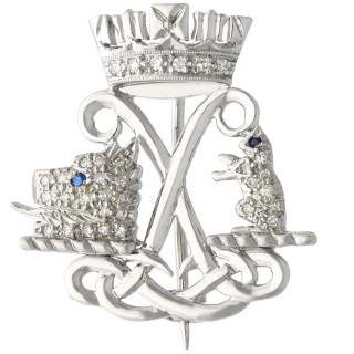 0.23ct Diamond and Sapphire, 9ct White Gold Argyll and Sutherland Highlanders Brooch - Vintage 1971