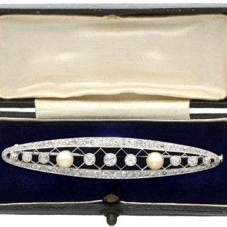 3.46ct Diamond and Natural Pearl, Platinum Brooch - Antique French Circa 1920