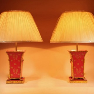 A Pair of Very Decorative Toleware Table lamps In the Regency/Empire Style Circa 1920-30