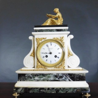 French Marble and Ormolu Mantel Clock by Legout, Paris