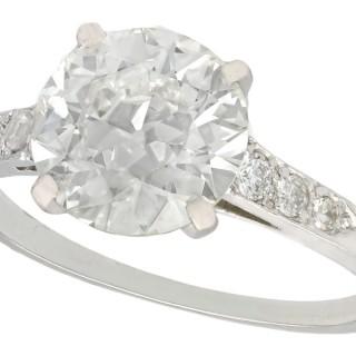 2.33ct Diamond and Platinum Solitaire Ring - Antique Circa 1925