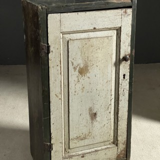 Very nice painted pine wall cupboard c1800