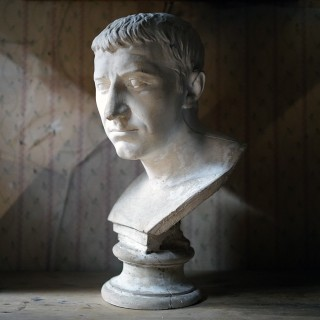 A Late 19thC Plaster Library Bust of Julius Caesar c.1870-90; Aynhoe Park