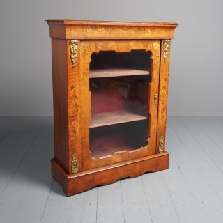 Antique Victorian Marquetry Inlaid Walnut Pier Cabinet.
