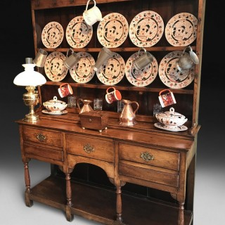 George III Oak Welsh Dresser and Rack