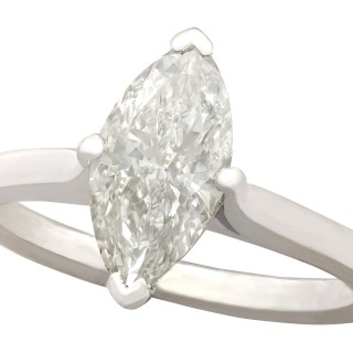 1.41 ct Diamond and 18 ct White Gold Solitaire Ring - Vintage 1986