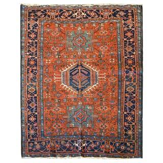 Antique Persian Heriz Carpet, Traditional Orange Wool Rug- 149x186cm