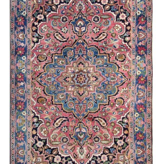 Antique Handmade Persian Pink Blue Wool Khorassan Rug- 135x205cm