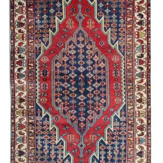 Handmade Antique Persian Hamedan Red Wool Rug- 119x196cm