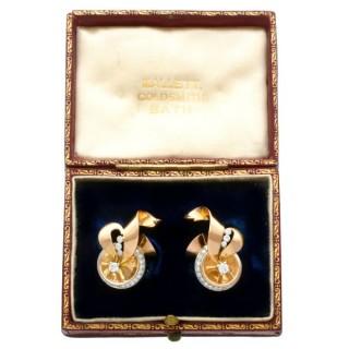 0.44ct Diamond and 18ct Yellow Gold Earrings - Art Deco - Vintage Circa 1940
