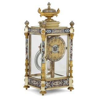 Antique Eclectic Style Gilt Bronze, Brass and Champlevé Enamel Mantel Clock