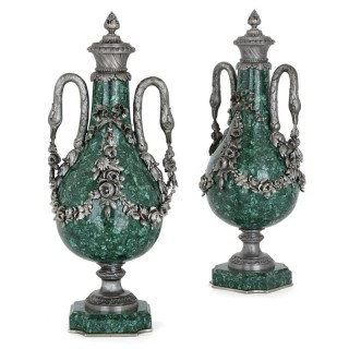 Two French Neoclassical Style Malachite and Silvered Metal Vases