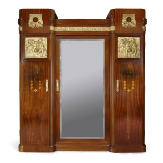 Antique Aesthetic Style Marquetry and Gilt Bronze Wardrobe with Mirror