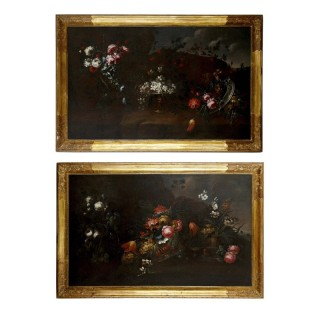 Pair of Antique 17th Century Floral Still Life Paintings, Attributed to Vincenzino