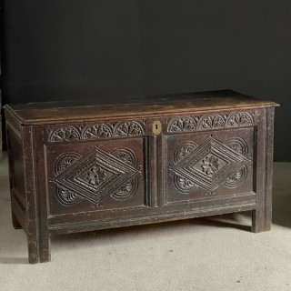 Well Carved Mid 17th Century Oak Coffer