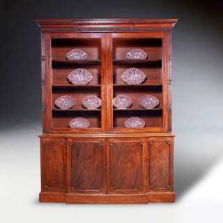 George III Chippendale period mahogany breakfront bookcase.