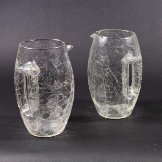A matched pair of crackle glass Jugs of highly unusual design.