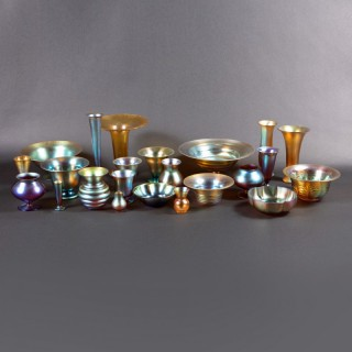 A Collection of 23 pieces of Art Deco WMF Myra iridescent glass bowls and vases.