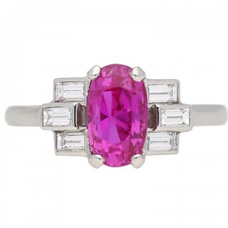 Art Deco Ceylon pink sapphire and diamond ring, circa 1935.