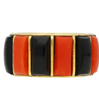 Vintage Cartier coral and onyx ring, French, circa 1975.