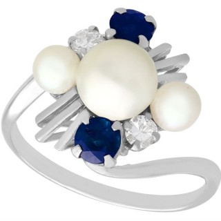 Pearl and 0.50ct Sapphire, 0.12ct Diamond and 18ct White Gold Twist Ring - Vintage Circa 1970