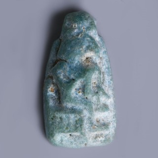 Egyptian Turquoise Faience Amulet with Thoth