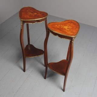 Antique Pair of Heart Shaped Inlaid Tables / Lamp Stands