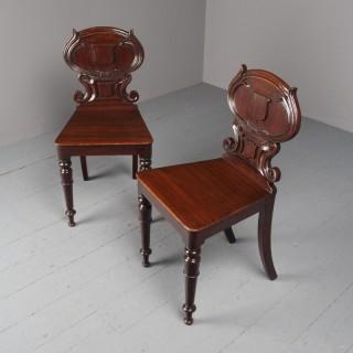 Antique Pair of Dark Oak Hall Chairs