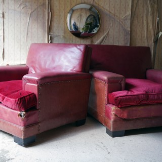 A Pair of Mid-20thC Red Leather & Velvet Upholstered Club Armchairs c.1935-55