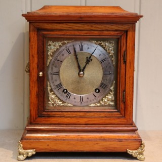 Edwardian Golden Oak Mantel Clock