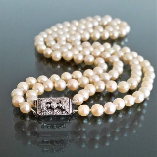 Two row akoya cultured pearl necklace c.1940