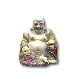 LARGE CHINESE FAMILLE ROSE PORCELAIN LAUGHING BUDDHA STATUE