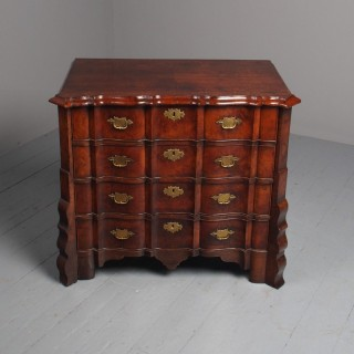 Unusual Antique Dutch Burr Walnut Shaped Commode