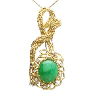 26.16ct Emerald and 0.95 ct Diamond, 18ct Yellow Gold Brooch / Pendant - Vintage French Circa 1980